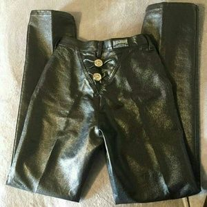 90s Vintage Faux Leather High Waisted  Roughrider